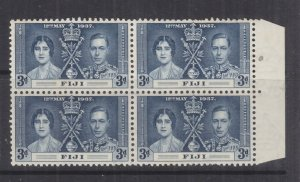 FIJI, 1937 Coronation, 3d. Blue, marginal block of 4, mnh./lhm., slight spots.