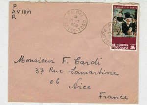 Rep Togolaise 1969 Airmail Palime Cancels Cafe Concert Pic Stamp Cover Ref 30723