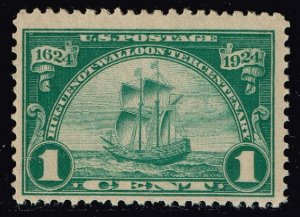US STAMP #614 1924 1¢ Ship Huguenot-Walloon Issue MH/OG