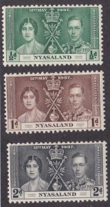Nyasaland # 51-53, King George VI Coronation. Hinged. 1/2 of Hinged