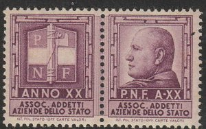 Stamp Label Italy Exposition Cinderella Mussolini WWII Fascist Axis 1 MNH