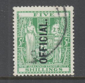 New Zealand Sc O57 used. 1933 5sh green Coat-of-Arms Postal Fiscal, sound.