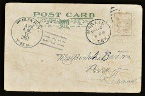 1907 TEXAS PERRY DOANE On Postcard (Falls County)