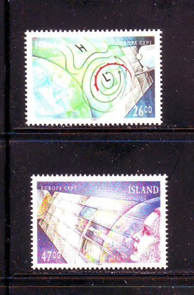 Iceland Sc738-9 1991 Europa Space stamps mint NH