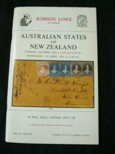 ROBSON LOWE AUCTION CATALOGUE 1982 AUSTRALIAN STATES AND NEW ZEALAND