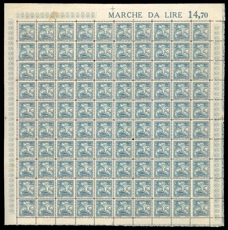 Italy 1941 14.70 L Fascist Social Security Stamp Mint Sheet #144A