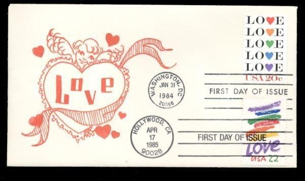 Love Stamps(1984-1985) #2072 & #2143 Dual FDC