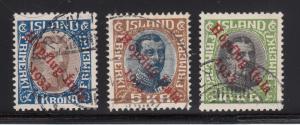 Iceland Sc C12-C14 used. 1933 Hopflug Atala ovpts cplt, rare, 3 Certs
