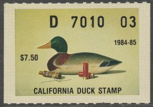 U.S.-CALIFORNIA 15, STATE DUCK HUNTING PERMIT STAMP. MINT, NH. VF