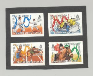 British Virgin Islands #683-686 Olympics, Judo 4v Imperf Proofs Mounted on Paper
