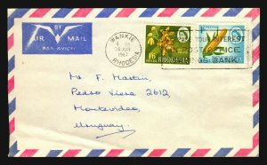 1968 scarce destiny air mail cover Rhodesia to Uruguay corn orchid flower