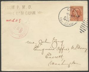 GUAM #11 ON COVER TO WASHINGTON CV $1,500 WLM154