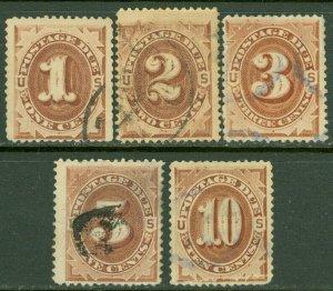 EDW1949SELL : USA 1879 Scott #J1-5 Fine-Very Fine, Used. Minor faults. Cat $185.