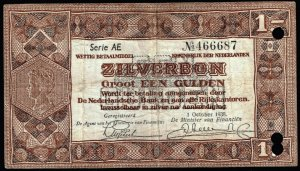 NETHERLANDS PAPER MONEY 1 GULDEN 1938