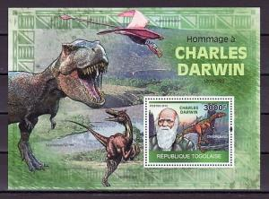Togo. Mi cat. 3508, BL512 A. Charles Darwin & Dinosaur s/sheet.