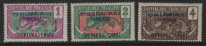 UBANGI SHARI  41-43 MINT HINGED    1924-1933 SET OVERPRINTED
