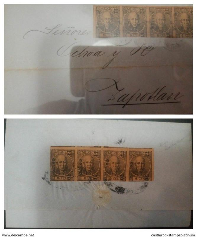 O) 1868 MEXICO, OVERPRINTED  FROM COLIMA - TICK FIGURES WITH PERIOD -AFTER NUMER
