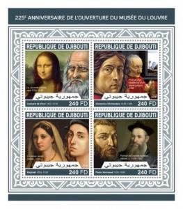 Djibouti - 2018 Louvre Museum - 4 Stamp Sheet - DJB18214a