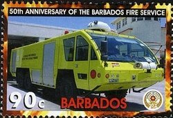 Barbados 2005 Yellow fire truck MNH**