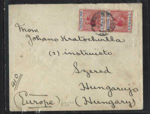 CYPRUS COVER (P1908B)    KGV  1P PR ON COVER NICOSIA TO HUNGARY, ARRIVAL B/S
