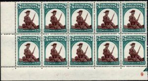 1943 Southern Rhodesia Sg61var Inverted 'G' Flaw (R5/5) with 5 Minor Flaws UMM