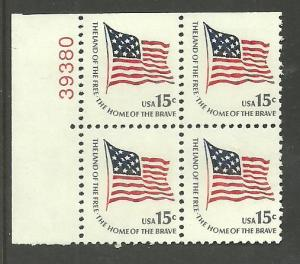 #1597 Ft. McHenry Flag Block of 4 with plate Number 38380 Mint NH
