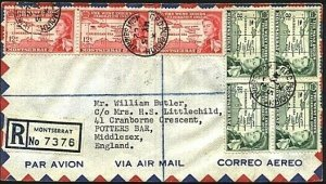MONTSERRAT 1962 Registered cover to UK  - GPO PLYMOUTH cds.................71534