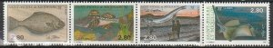 1992 St. Pierre and Miquelon - Sc 592 - MNH VF - 1 strip of 4 - Fish