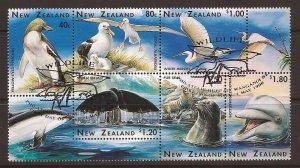 1996 New Zealand - Sc 1371b - used VF - block of 6 - Wildlife