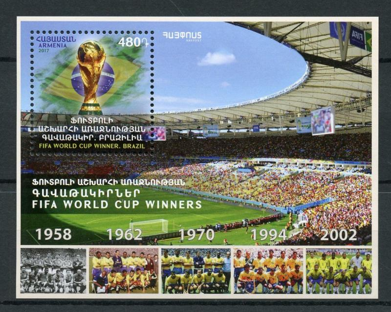Armenia 2017 MNH Brazil FIFA World Cup Winners 1v M/S Football Soccer Stamps