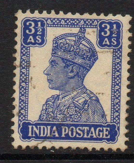 INDIA SG272 1943 3½a BRIGHT BLUE USED