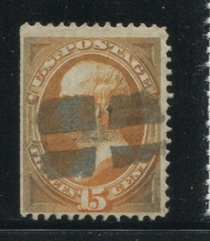 1870 US Stamp #141 15c Used F/VF H. Grill Cork Cancel Catalogue Value $1500
