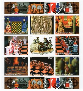 Niger 1999 Chess Paintings  Sheetlet (9) Imperforated MNH