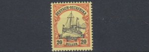 GERMAN EAST AFRICA  1905  S G 30   20H  BLACK RED YELLOW     MNH