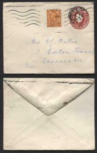 EP57 KGV 1d Scarlet Envelope Size H Used Uprated