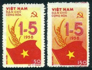 Viet Nam 69-70,lightly hinged.Michel 72-73. May Day,1958.Flag.
