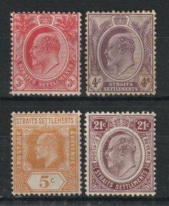 Malaya Straits Settlements 1908-10 KE VII 4V MCCA MH/MLH M1893