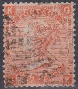 Great Britain #43 Plate 9 F-VF Used CV $65.00 (A9316)