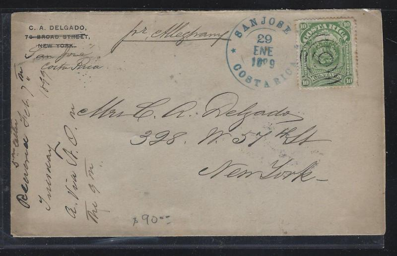 COSTA RICA  (PP2404B) 1899  10C COVER SAN JOSE TO USA