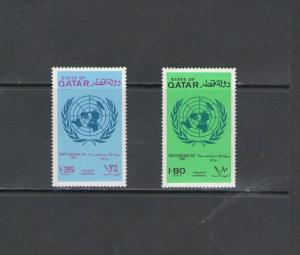 QATAR: Sc. 585-86 /** UNITED NATIONS DAY-1980 **/ Complete Set / MNH-CV:$10+