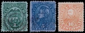Colombia Scott 129-130, 131b (1886) Used/Mint H F-VF Complete Set, CV $5.60 B