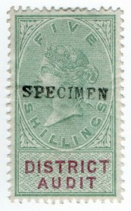 (I.B) QV Revenue : District Audit 5/- (specimen)