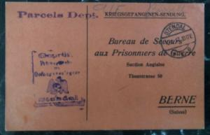1917 Stendal Germany POW CAmp Cover Parcel Acknowledgment Card To Switzerland