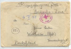 Yugoslavia 1948 Cover with Beograd red cross KRIEGSGEFANGENEN POST - Prisoner...