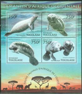 TOGO 2013 WILD ANIMALS OF WEST AFRICA SENEGALESE MANATEE SHEET