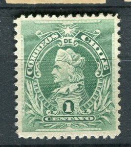 CHILE; 1901 early Columbus rouletted issue fine Mint hinged 1c. value