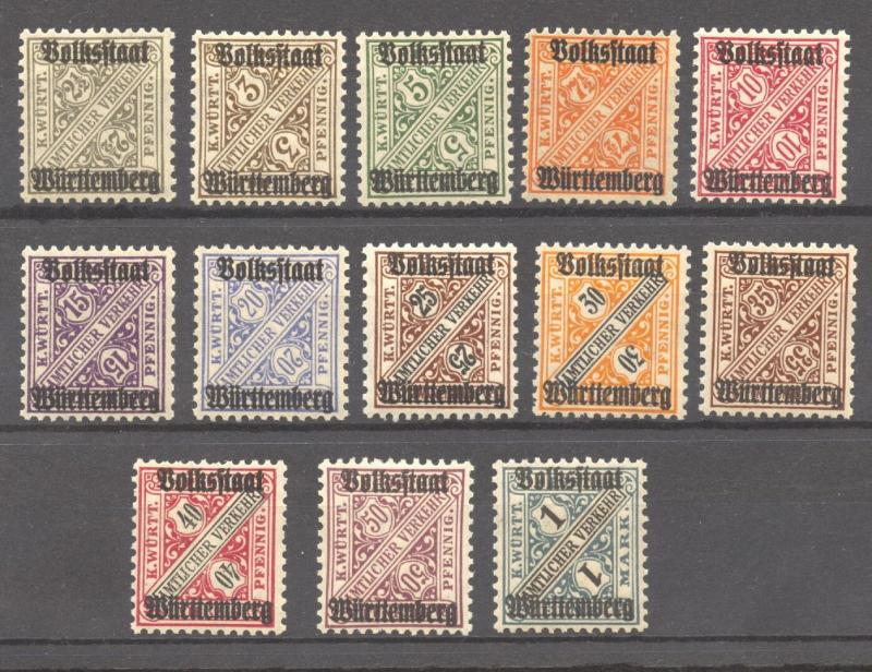 Wuerttemberg 1919 Volksstaat set, Mi. 258 to 270, MNH complete set of 13 values