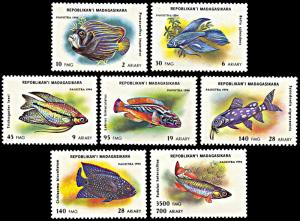 Madagascar MNH 1192-8 Aquarium Fish 1994