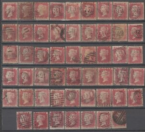 COLLECTION LOT # 2145 GREAT BRITAIN #33 (52 STAMPS) 1864 CV+$143 STUDY