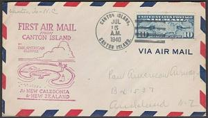 GILBERT & ELLICE IS US PO 1940 first flight cover Canton Is to Noumea......55592